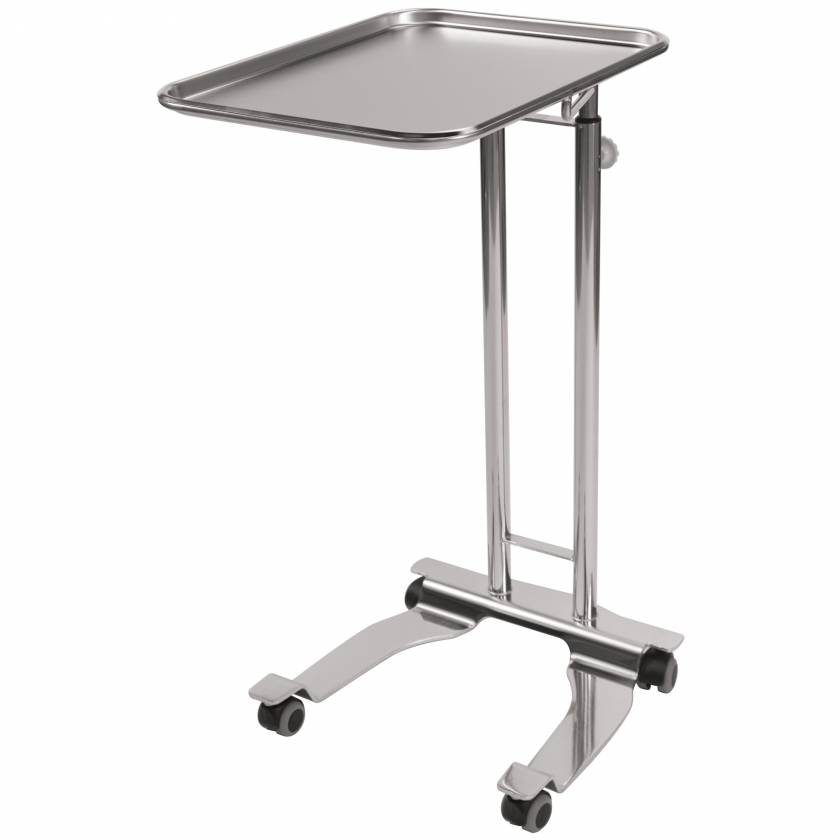 """Pedigo P-1069-A-SS Stainless Steel 4-Wheel Base Hand Operated Mayo Stand With 16.25"""" x 21.25"""" Tray"""