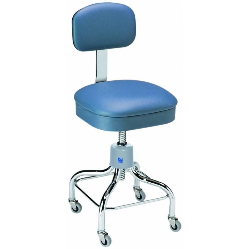 Pedigo Adjustable Square Seat Chrome Stool With Backrest & Casters