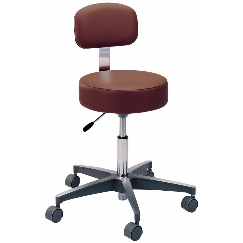 Pedigo Pneumatic Height Adjustment Exam Stool with Backrest and Aluminum Base