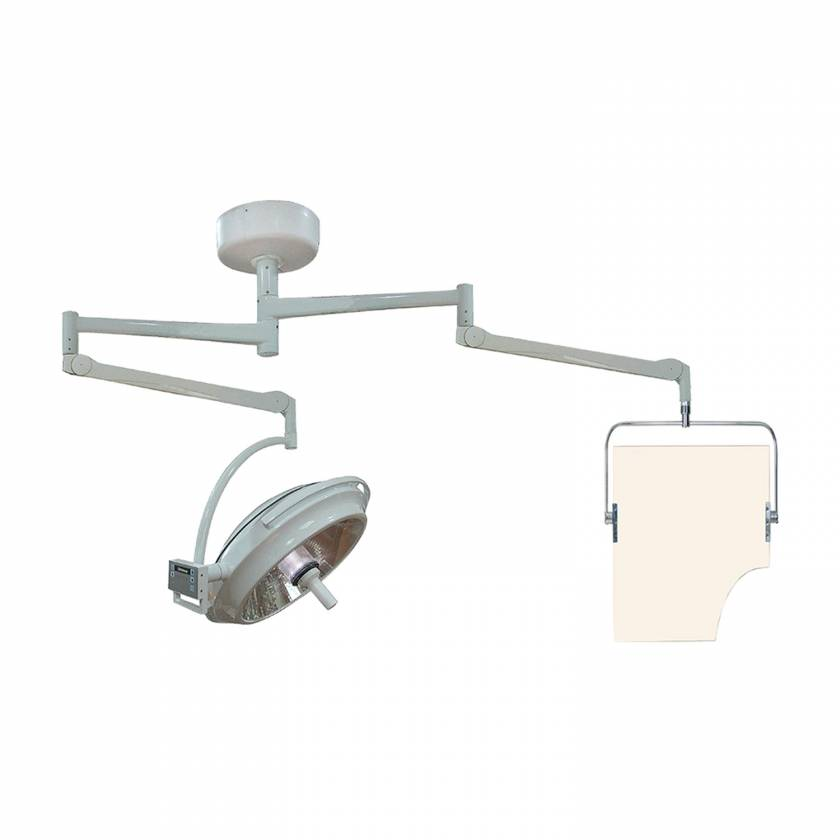 Model PTO-008 Ceiling Mounted Overhead Lead Acrylic Barrier with Torso Cutout and Light