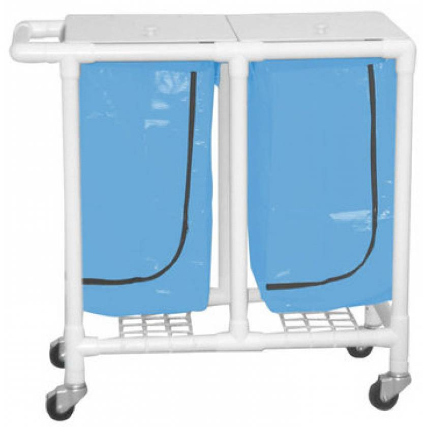 MRI-Conditional Double PVC Hamper Cart with Leakproof 22 Gallon Bag