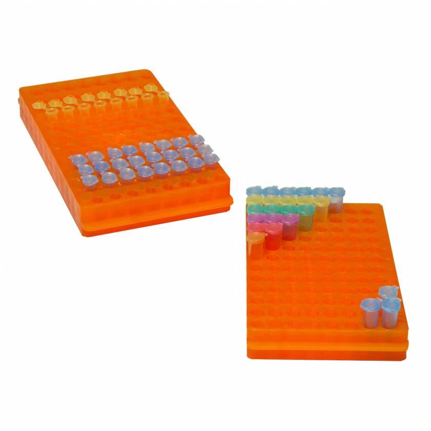 MTC Bio R1050 Reversible Rack for 96 x 1.5mL or 0.5mL Tubes - Orange
