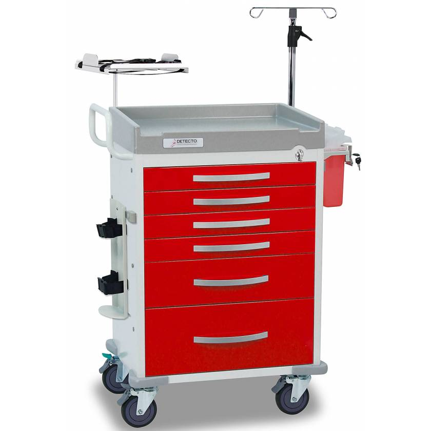 DETECTO Rescue Series Loaded ER Medical Cart - 6 Red Drawers
