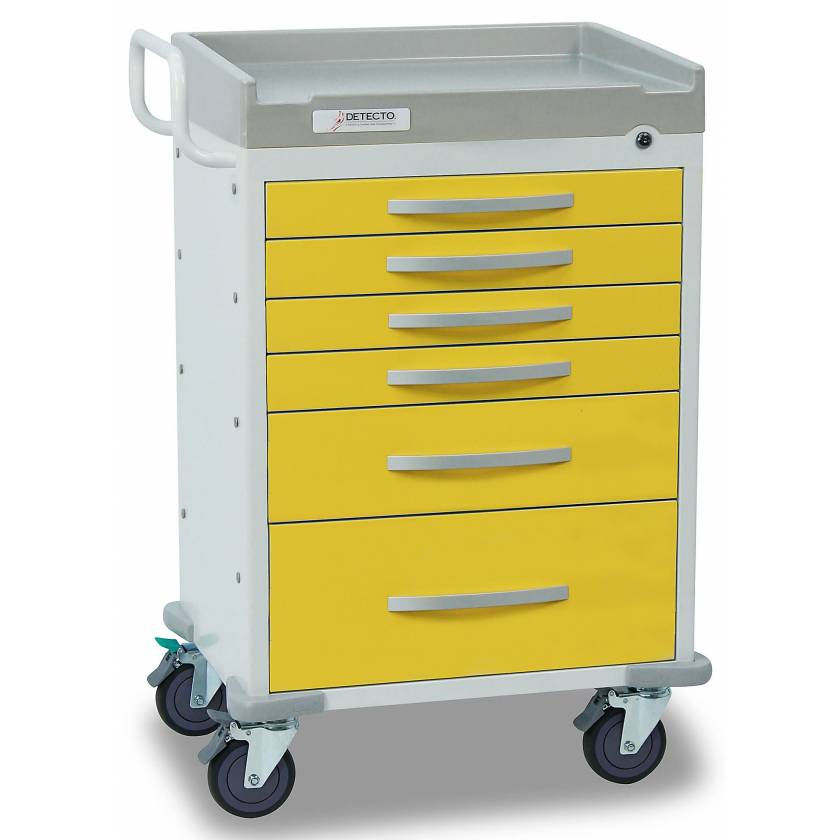 DETECTO Rescue Series Isolation Medical Cart - 6 Yellow Drawers