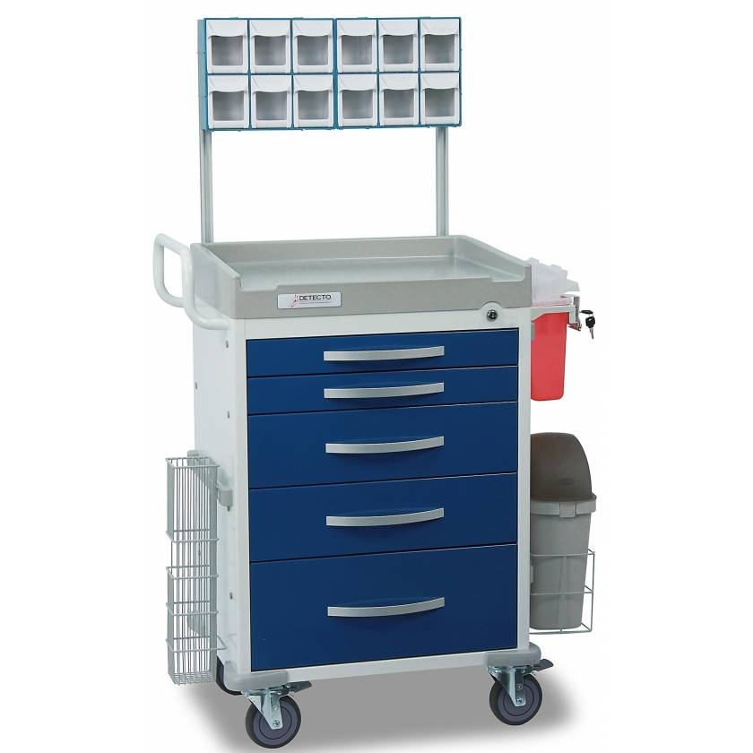 DETECTO Rescue Series Loaded Anesthesiology Medical Cart - 5 Blue Drawers