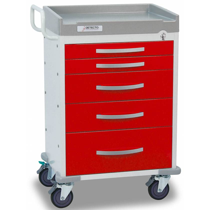 DETECTO Rescue Series ER Medical Cart 5 Red Drawers