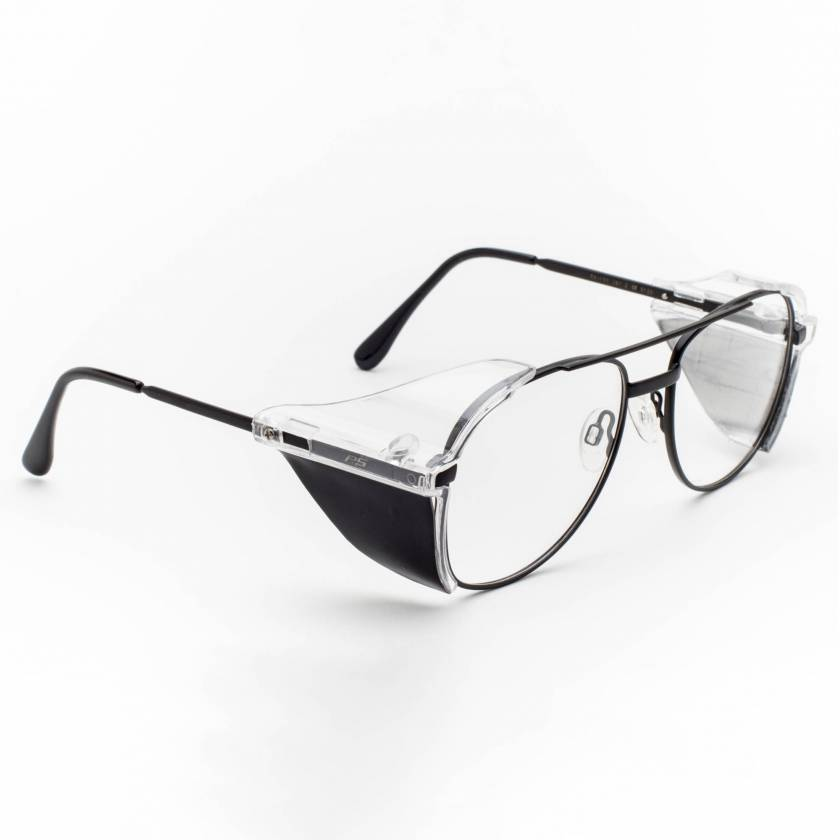 Model 100 Aviator Metal Radiation Glasses with Side Shields - Black