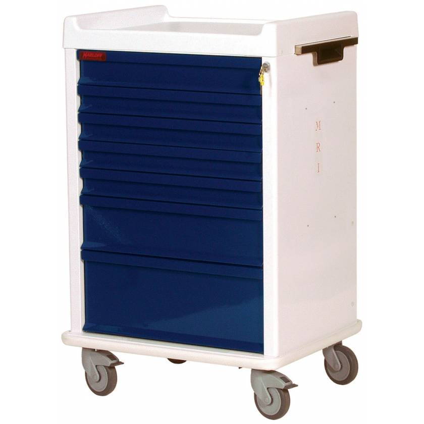 MRI Anesthesia Cart 7 Drawer - Standard Package with Key Lock