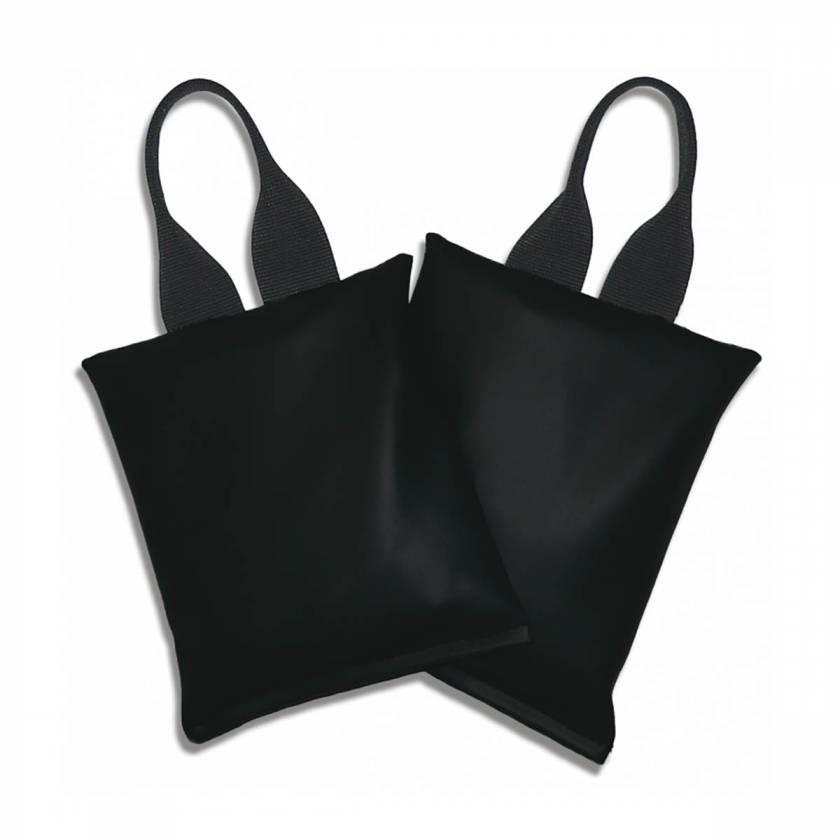 "Heavy-Gauge Vinyl Sandbags - Set of Two 5lb (9""x9"") - Standard Handles - Black"