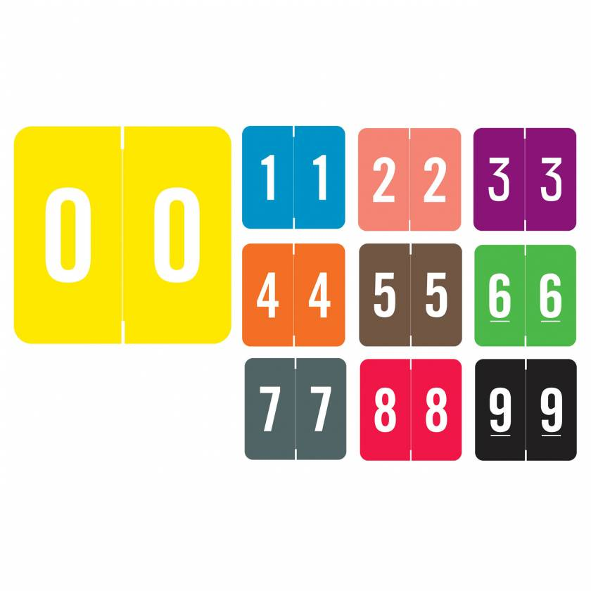 "Smead/Barkley FNSDM Match SBNM Series Numeric Roll Color Code Labels - 1 1/2""H x 1 1/2""W"
