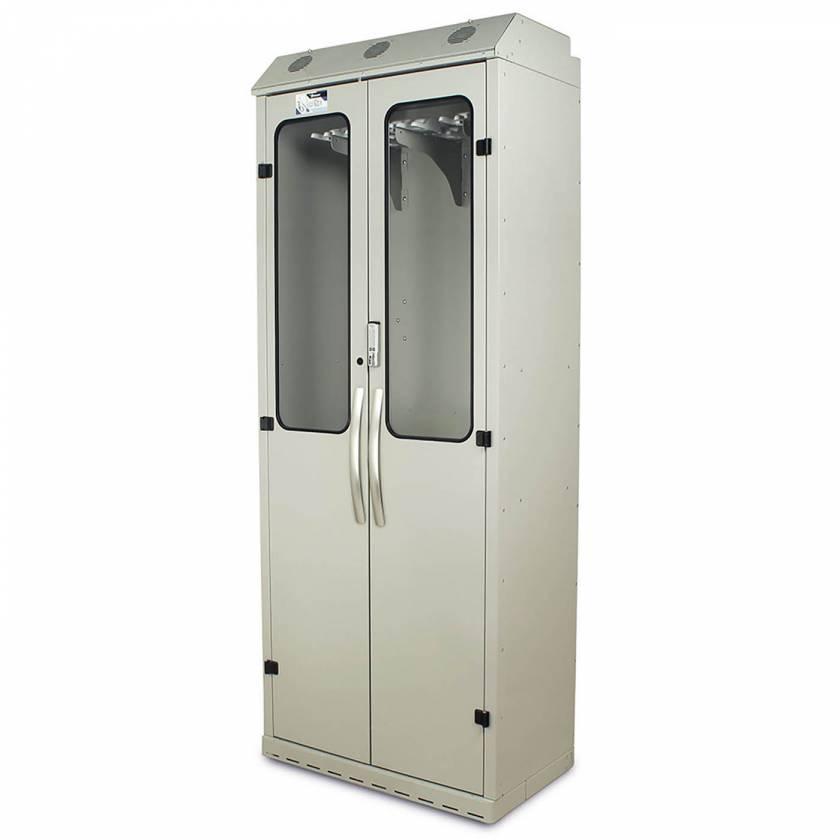 Harloff SC8136DREDP Light Gray Powder Coated Steel SureDry 16 Scope Drying Cabinet - Basic Electronic Push Button Locking Tempered Glass Doors