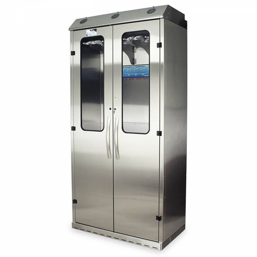 Harloff SCSS8044DRDP-DSS3316 Stainless Steel SureDry High Volume 16 Scope Drying Cabinet with Dri-Scope Aid - Key Locking Tempered Glass Doors