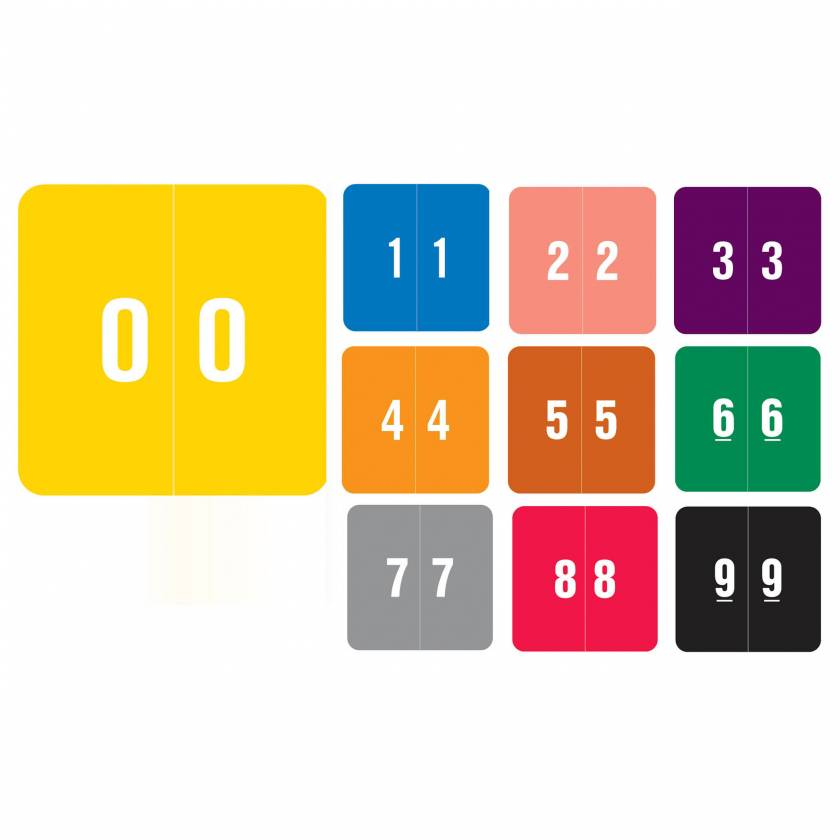 """Smead DCC Match SDNM Series Numeric Roll Color Code Labels - 1 1/2""""H x 1 1/2""""W"""
