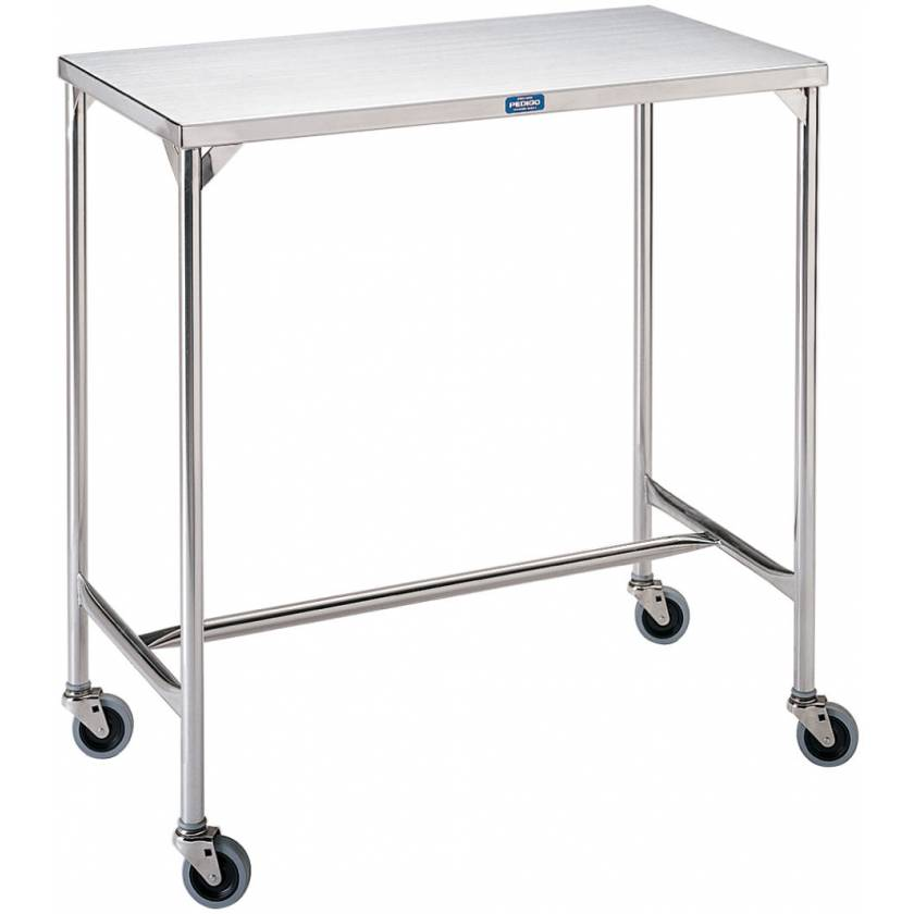 Pedigo Mid-Sized Stainless Steel Instrument Table with H Brace