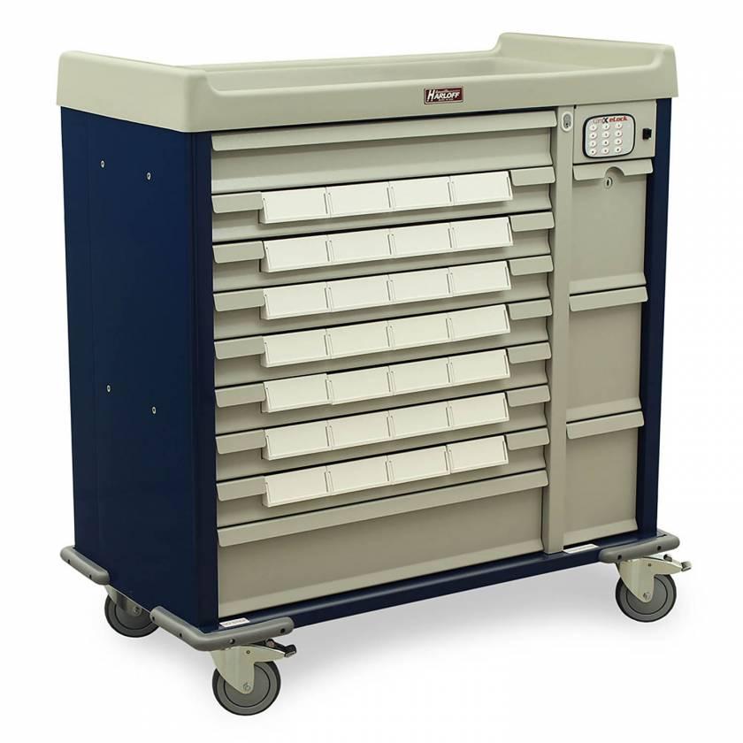 "Harloff SL28BIN5-EKC Standard Line 28 - 5"" Med-Bin Medication Cart with CompX Electronic Lock"