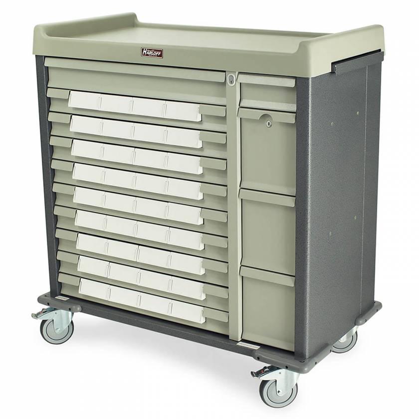 """Harloff SL36BIN5 Standard Line 36 - 5"""" Med-Bin Medication Cart with Key Locks (Hammertone Gray)"""