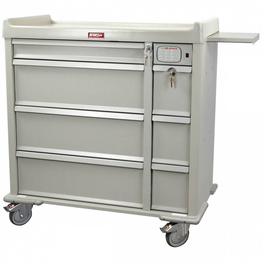 Harloff SL600PC-EKC Standard Line 600 Punch Card Medication Cart with CompX Electronic Lock, Single Wide Narcotics Drawer