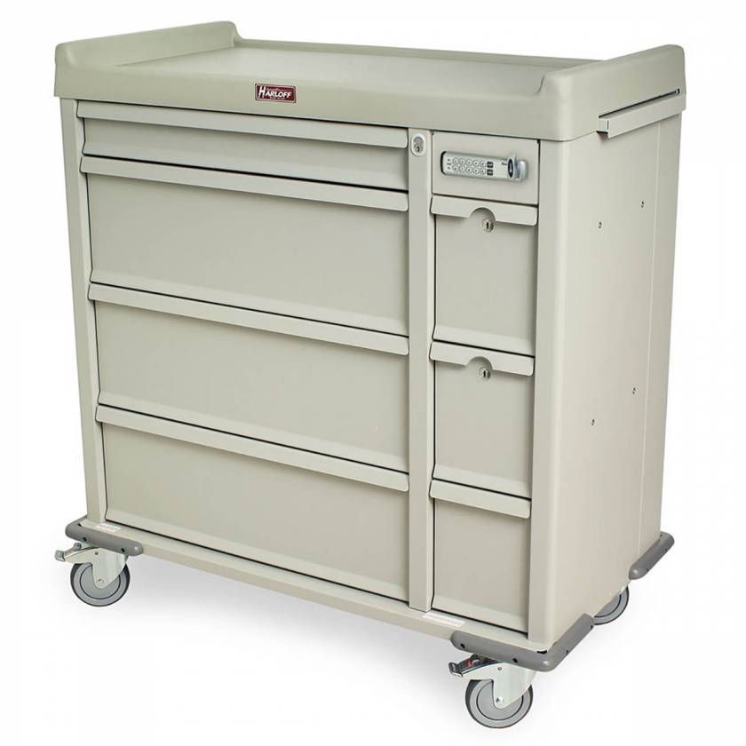 Harloff SL605EPC Standard Line 600 Punch Card Medication Cart with Basic Electronic Lock, 2 Single Wide Narcotics Drawers