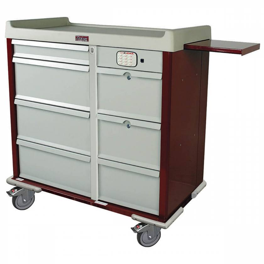 Harloff SL607PC-EKC Standard Line 600 Punch Card Medication Cart with CompX Electronic Lock, 2 Double Wide Narcotics Drawers