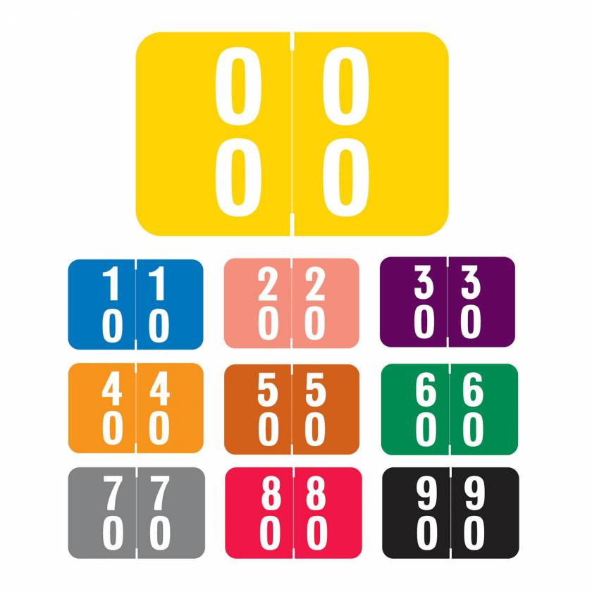 """Smead DDS Match SMDM Series Double Digit Numeric Roll Color Code Labels - 1""""H x 1 1/2""""W"""