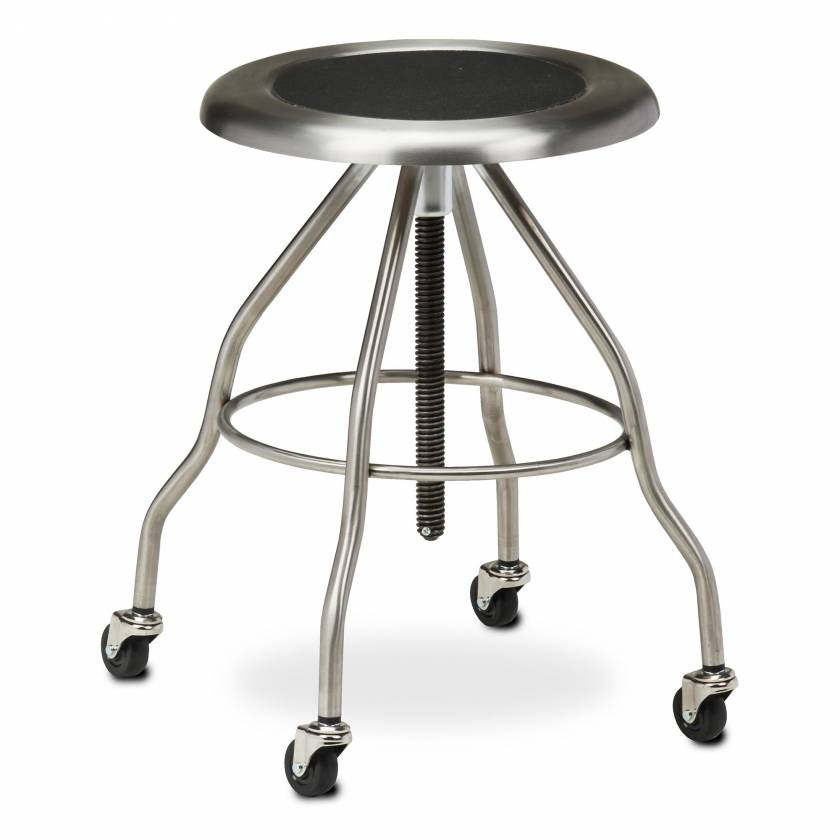 """Clinton Model SS-2162 Stainless Steel Stool With Casters & 15"""" Diameter Stainless Steel Seat"""