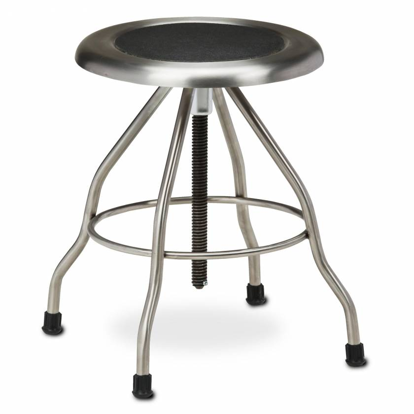 "Clinton Model SS-2169 Stainless Steel Stool with Rubber Feet & 15"" Diameter Stainless Steel Seat"