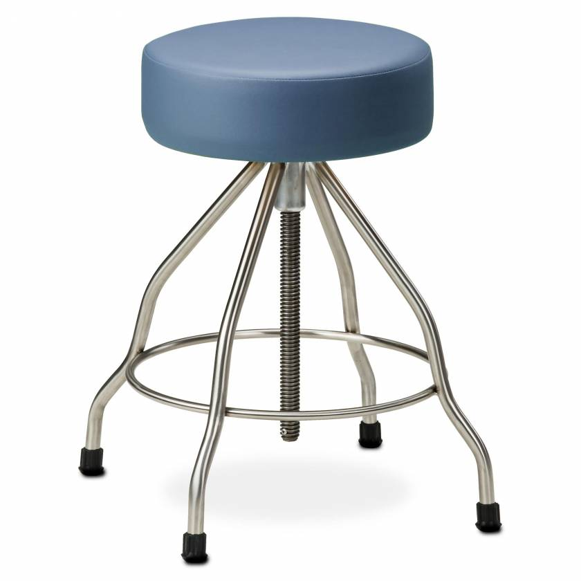 "Clinton Model SS-2179 Stainless Steel Stool with Rubber Feet, 4"" Thick Padded Seat & Extra Wide Base"