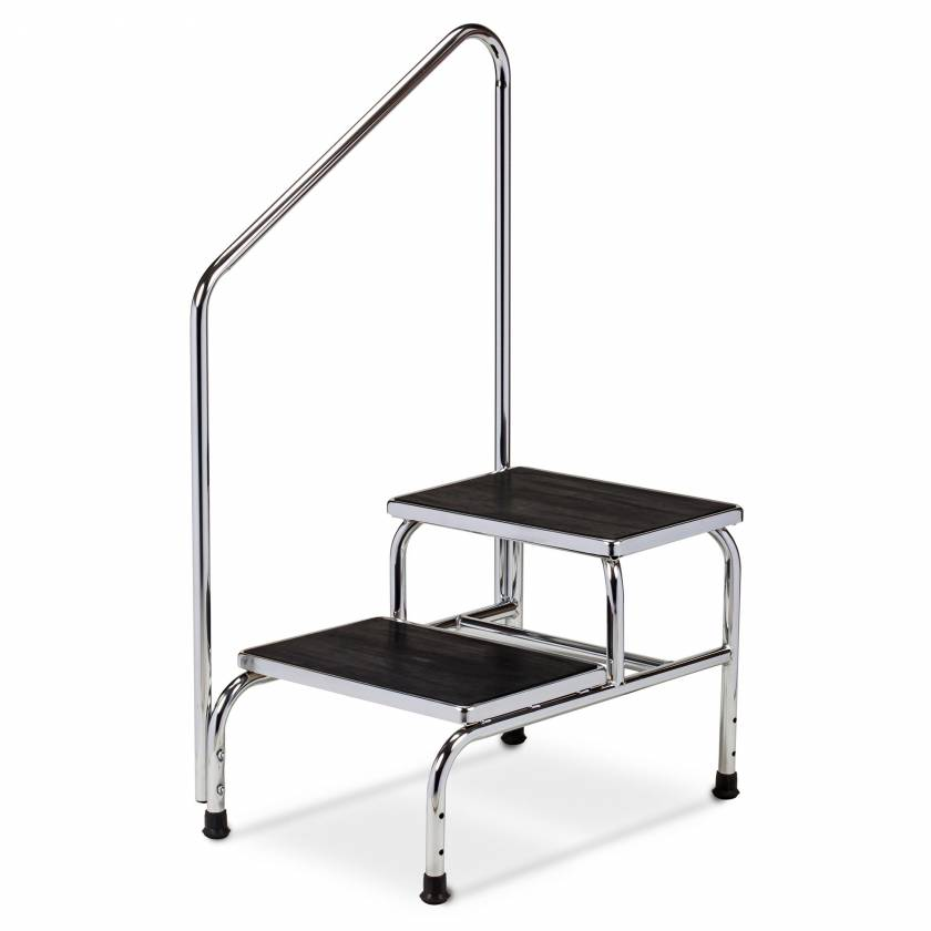 Clinton Model T-6850 Double-Step Chrome Bariatric Step Stool with Handrail