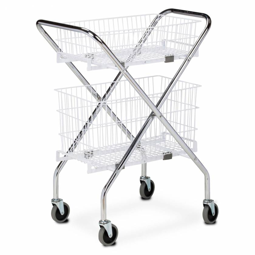"Clinton Folding Cart Frame Model TC-233, 6"" Wire Basket Model TB-206, and 12"" Wire Basket Model TB-212"