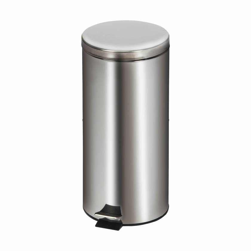 Clinton Model TR-32S Large Round Stainless Steel Waste Receptacle - 32 L Capacity (33.8 Quarts)