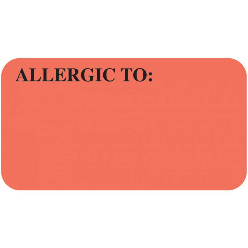 """ALLERGIC TO Label - Size 1 5/8""""W x 7/8""""H"""