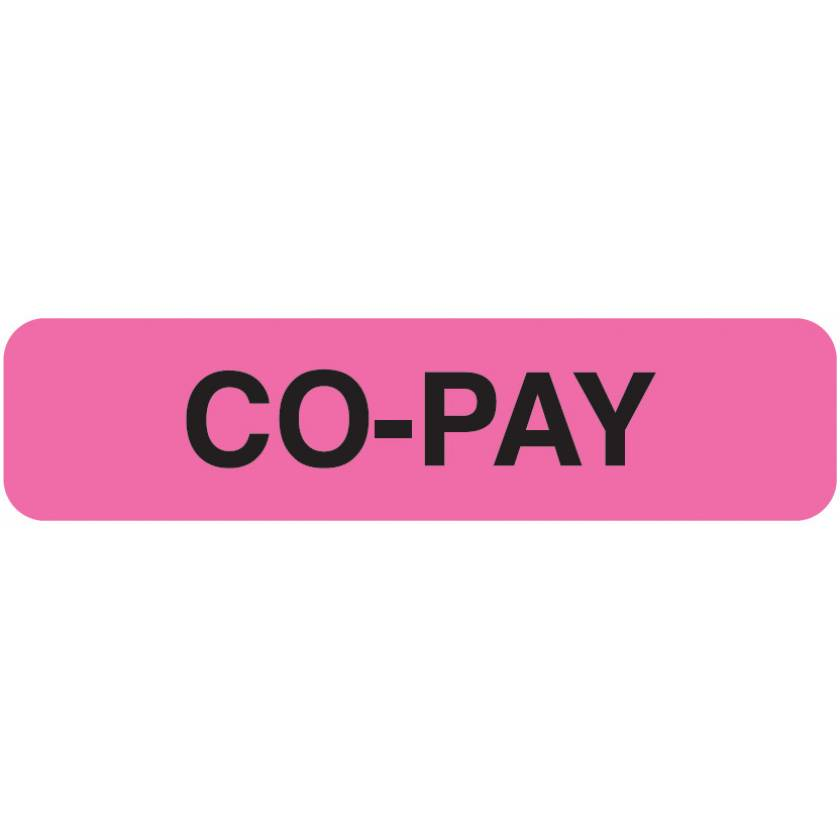 """CO-PAY Label - Size 1 1/4""""W x 5/16""""H"""
