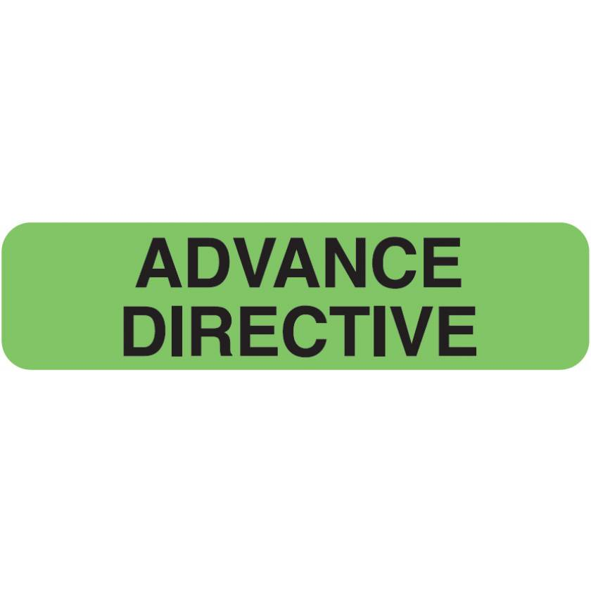 "ADVANCE DIRECTIVE Label - Size 1 1/4""W x 5/16""H - Fluorescent Green"