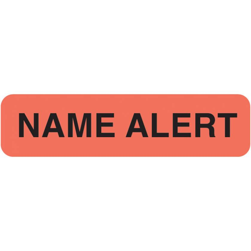 """NAME ALERT Label - Size 1 1/4""""W x 5/16""""H - Fluorescent Red"""