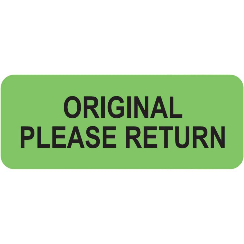 "ORIGINAL PLEASE RETURN Label - Size 2 1/4""W x 7/8""H"