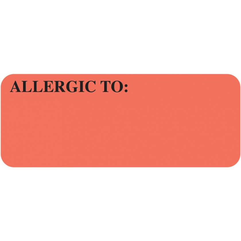 "ALLERGIC TO Label - Size 2 1/4""W x 7/8""H"