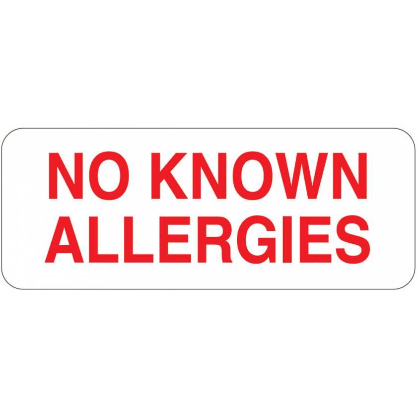 "NO KNOWN ALLERGIES Label - Size 2 1/4""W x 7/8""H"