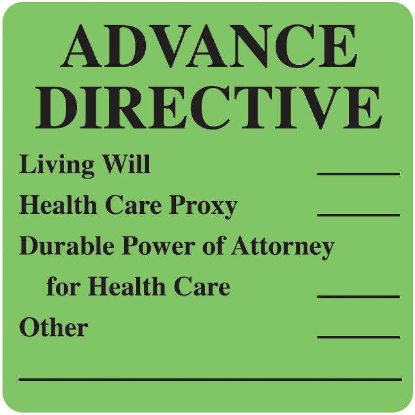 "ADVANCE DIRECTIVE Label - Size 2 1/2""W x 2 1/2""H - Fluorescent Green"
