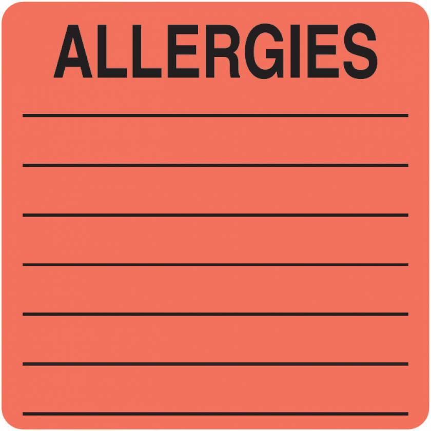 "ALLERGIES Label - Size 2 1/2""W x 2 1/2""H"