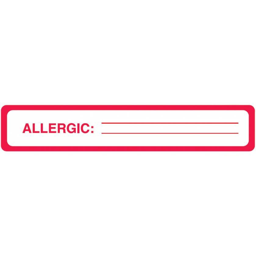 "ALLERGIC Label - Size 5 1/2""W x 1""H"