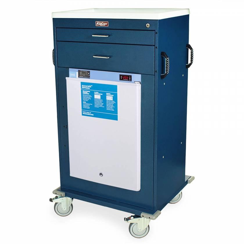 Harloff Model VF4302K-AC Mobile Vaccine Freezer Cart with 1.8 Cubic Feet Freezer, Two Drawers, Key Lock