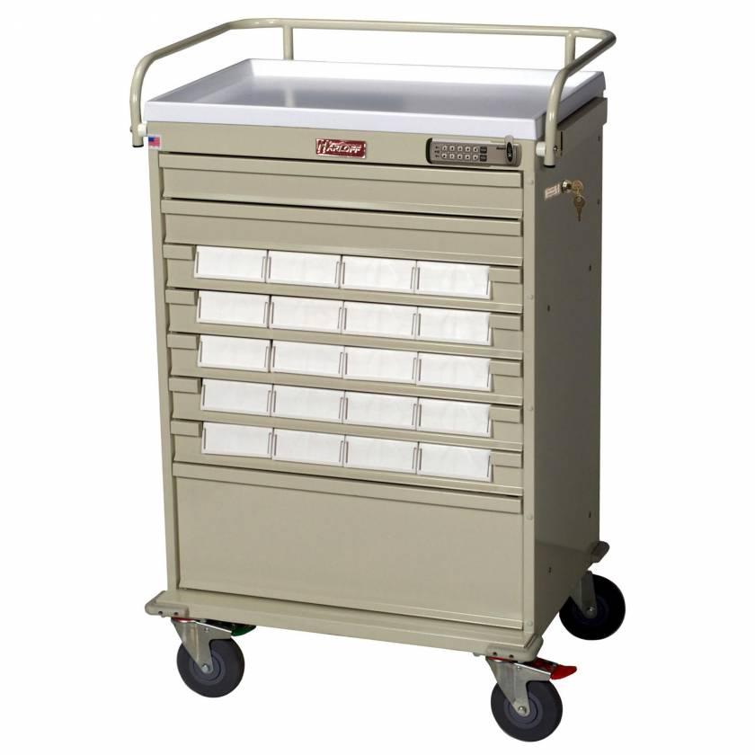 "Harloff VLT20EBIN5 Value Line 20 - 5"" Med-Bin Medication Cart with Basic Electronic Pushbutton Lock"