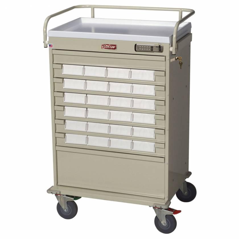 "Harloff VLT24EBIN5 Value Line 24 - 5"" Med-Bin Medication Cart with Basic Electronic Pushbutton Lock"