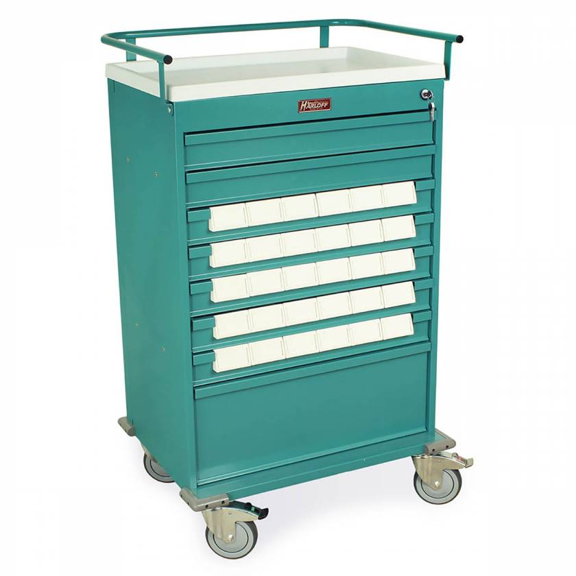 "Harloff VLT30BIN3 Value Line 30 - 3.5"" Med-Bin Medication Cart with Key Lock"