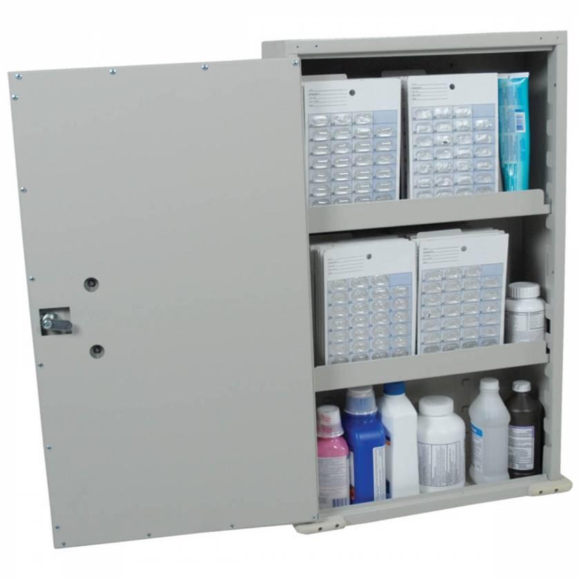 Harloff VLWALLCAB Painted Steel Exterior Wall Mount Medication Cabinet, Single Door, Single Key Lock