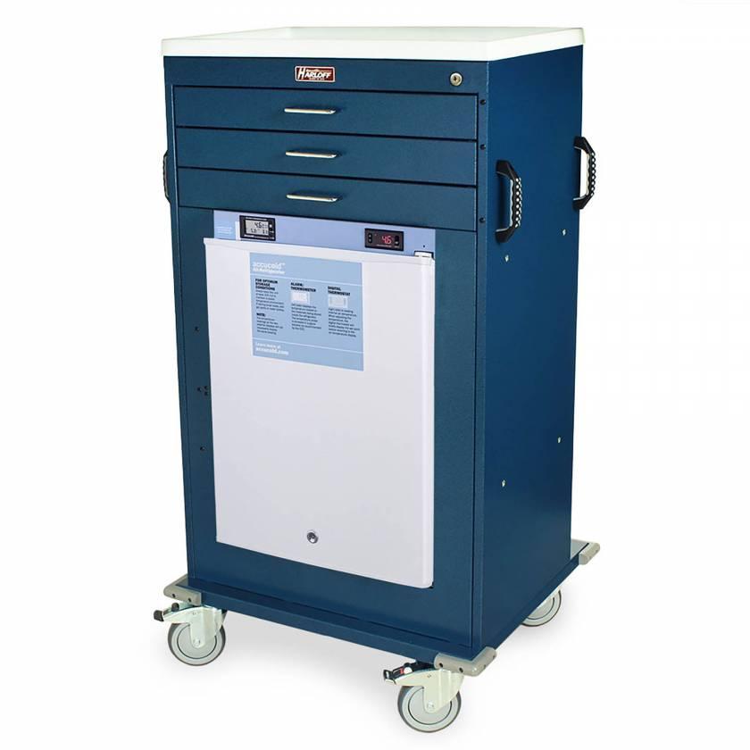 Harloff Model VR4300K-AC Mobile Vaccine Refrigerator Cart with 2.4 Cubic Feet Refrigerator, Three Drawers, Key Lock