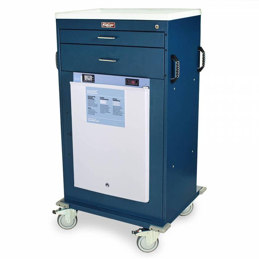 Harloff Model VR4302K-AC Mobile Vaccine Refrigerator Cart with 2.4 Cubic Feet Refrigerator, Two Drawers, Key Lock