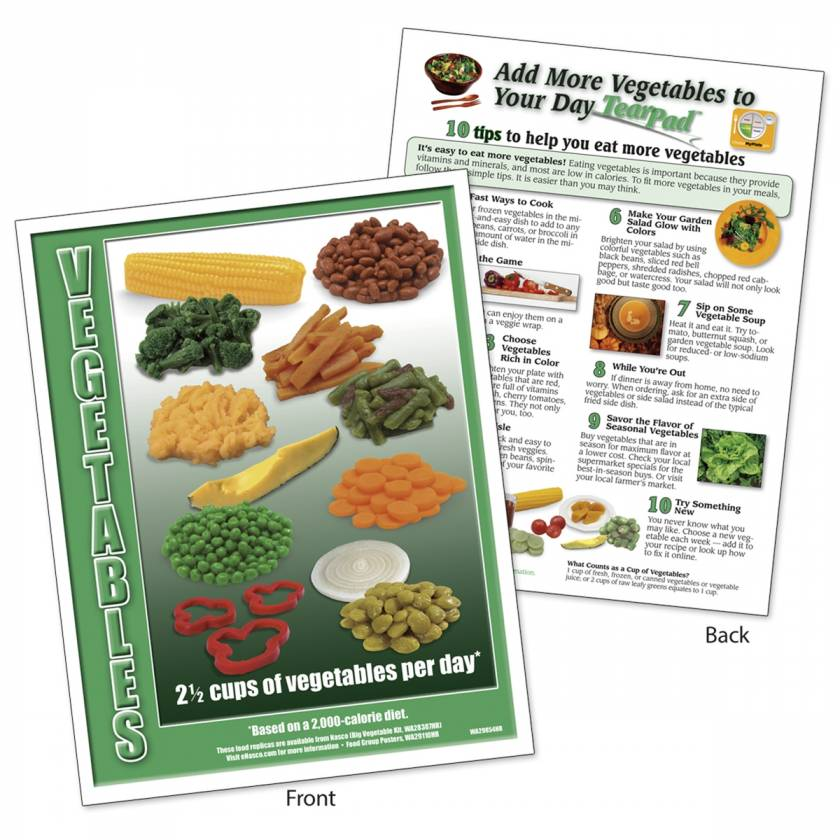 Food Group TearPad - Vegetable Group - 8-1/2 x 11 - 50 Sheets