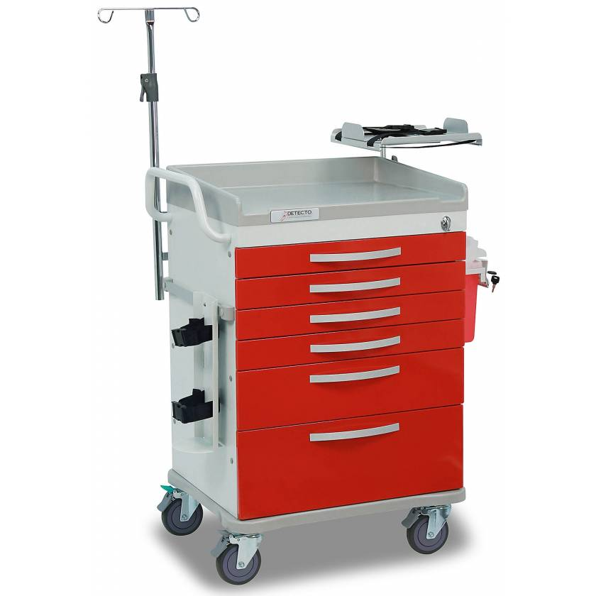 Detecto Whisper Series Loaded ER Medical Cart 6 Red Drawers