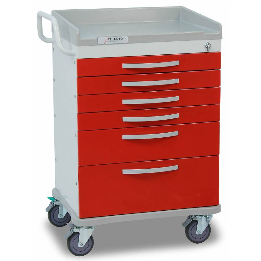 Whisper Series ER Medical Cart 6 Red Drawers